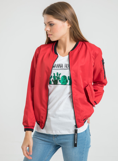 Foremia Soft Bomber Ceket Kırmızı